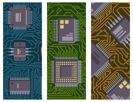CPU microprocessors microchip brochure vector illustration hardware component equipment.