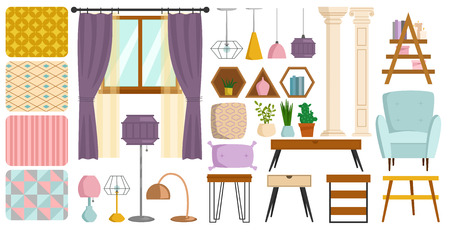 Vintage interior furniture rich wealthy house chair room with sofa couch seat set vector illustration. Vectores