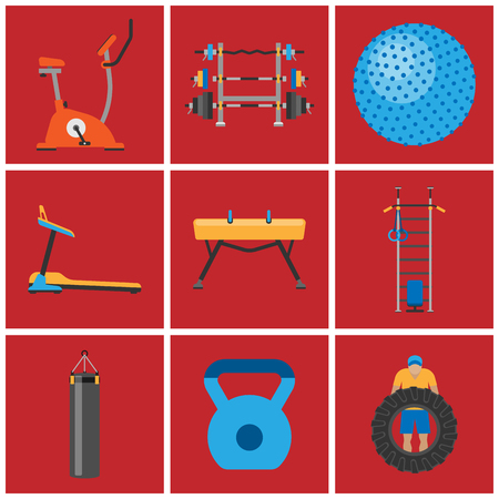 Fitness gym club athlet sport activity body tools wellness dumbbell equipment vector illustration Illustration