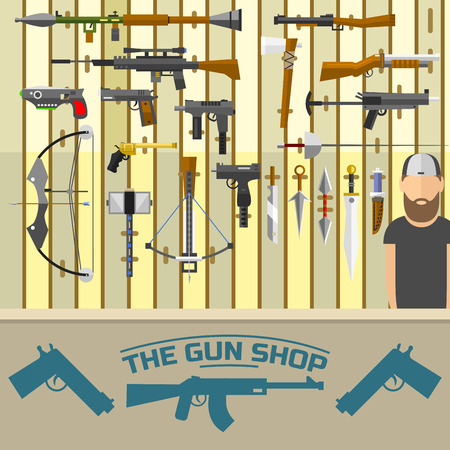 Weapon banner with men choosing gun and shooting at charges illustration. Illustration
