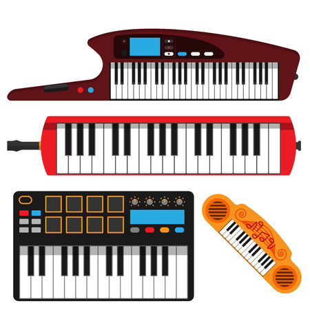 Keyboard musical instruments vector set