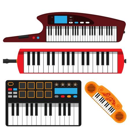 Keyboard musical instruments vector set
