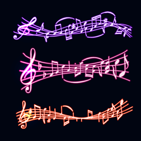 Notes vector music set