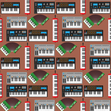 Keyboard musical instruments vector classical piano melody studio acoustic shiny musician equipment illustration. Orchestra composer electronic sound tool seamless pattern background. Standard-Bild - 101047448
