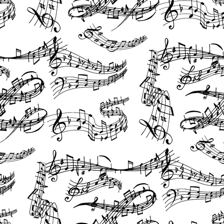 Notes music melody colorfull musician symbols sound melody text writting audio symphony. Music sign vector elements seamless pattern background Stock Illustratie
