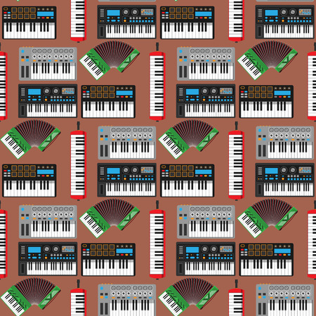Keyboard musical instruments, vector classical piano. Melody studio, acoustic shiny musician equipment, electronic sound seamless pattern background illustration. Standard-Bild - 101092218