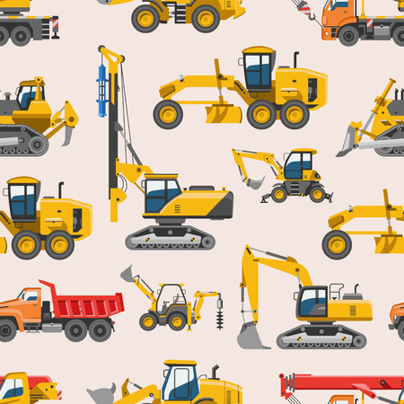 Excavator for construction vector digger or bulldozer excavating with shovel and excavation machinery industry illustration set of constructive vehicles and digging machine seamless pattern background.