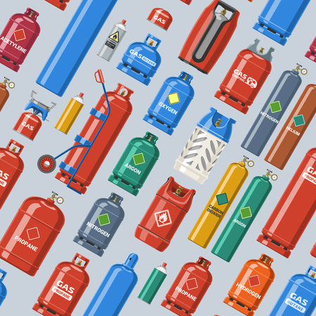Gas cylinder vector LPG gas bottle and gas cylinder illustration set of cylindrical container with liquefied compressed gases with high pressure and valves seamless pattern background.