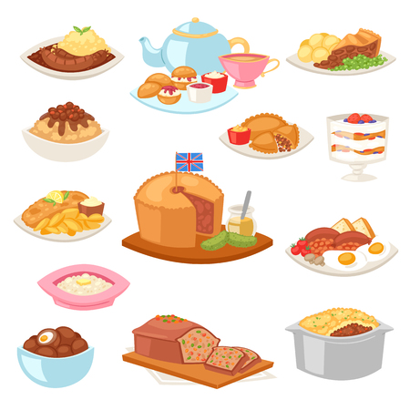 British food vector English breakfast meal and fried meat with potato for dinner or lunch illustration set of traditional dishes in restaurant in Britain isolated on white background. Illustration