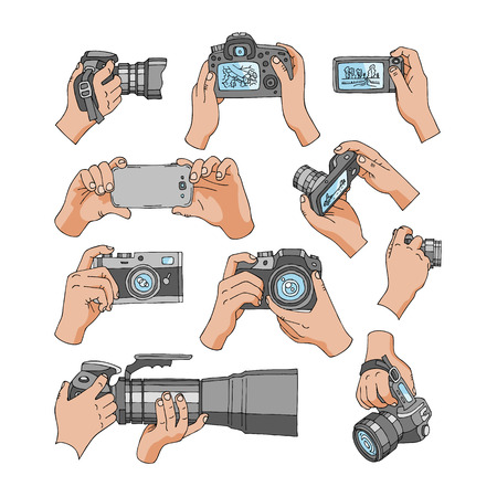 Camera vector professional photocamera in hands for photographing with photography lens illustration set of holding photographic equipment for digital photo isolated on white background