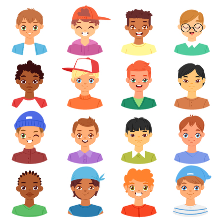 Boy portrait vector male kids character face of guy with hairstyle and cartoon manlike person with various skin tone illustration set of man-child facial features isolated on white background Illustration