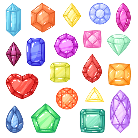 Diamond vector gem and precious gemstone or crystal stone for jewellery illustration crystalline set of jewel or mineral stony crystallization of natural quartz isolated on background Illustration
