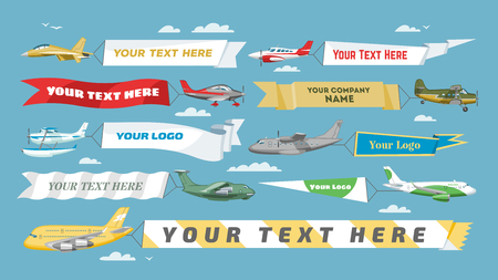 Plane banner vector airplane or aircraft with blank message advertisement and text template ad in illustration set of aeroplane or airliner advertising in sky isolated on background Illusztráció