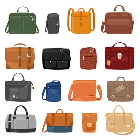 Man tas vector mannen mode handtas of zakelijke aktetas en lederen notitieboekje van zakenman illustratie manachtige zakken set van mannelijke baggy accessoire bagpack geïsoleerd op witte achtergrond