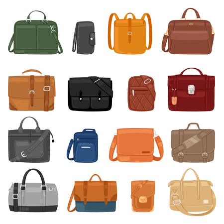 Man bag vector men fashion handbag or business briefcase and leather notecase of businessman illustration manlike bagged set of male baggy accessory bagpack isolated on white background