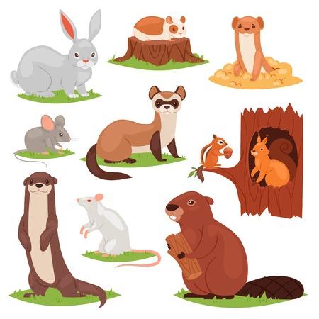 Bos dieren vector dierlijke stripfiguren eekhoorn in holle en wilde bever of bunny Haas in bosrijke illustratie set knagers muis of rat geïsoleerd op witte achtergrond Vector Illustratie