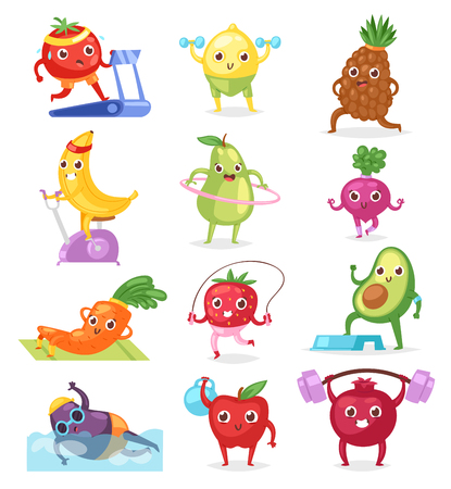 Fruits sportsman vector fruity expression of sporting cartoon character workout doing fitness exercises illustration set of vegetables with funny apple banana in sport isolated on white background 写真素材