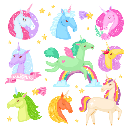 Unicorn vector cartoon kids character of girlish horse with horn and colorful ponytail in love illustration set of fantasy child ponytailed animal with wings isolated on white background Illustration