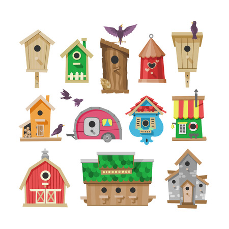 Birdhouse vector cartoon birdbox and birdie wooden house illustration set of birds singing birdsongs in decorative house isolated on white background