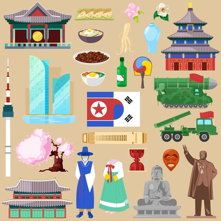 Korea vector korean traditional culture symbol of southkorea or northkorea country illustration tourism set of gyeongbokgung palace architecture and oriental cuisine isolated on background.