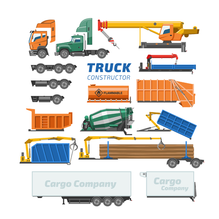 Truck constructor vector delivery vehicle or cargo transportation and trucking construction illustration set of concrete mixer truck or logistic transport isolated on white background