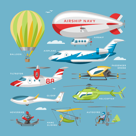 Plane vector aircraft or airplane and jet flight transportation and helicopter in sky illustration aviation set of aeroplane or airliner and airfreighter cargo isolated on background Vettoriali