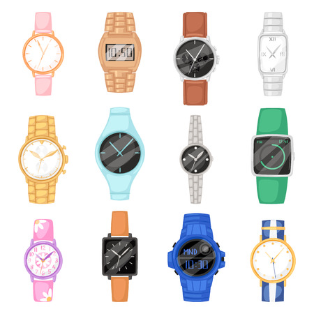 Watch vector wristwatch for businessman or fashion wrist clock with clockwork and clockface clocked in time with hour arrows illustration set of clocking alarm timer isolated on white background Illusztráció