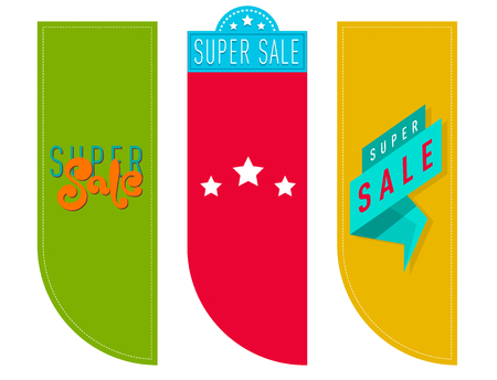 Super sale extra bonus banners text in color drawn labels business concept vector. Internet promotion shopping advertising discount promotional marketing. Ilustracja