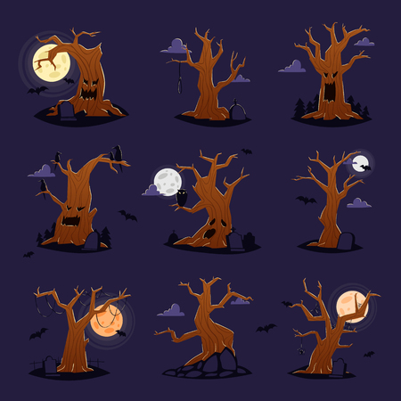Halloween tree vector scary character treetops of horror in spooky forest illustration set of forestry wood or evil oak monster of nightmare isolated on background Illustration