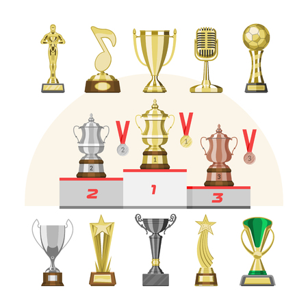 Award trophy vector winners prize trophycup or medal for award-winning champion with reward for victory on competition illustration set of golden cup for first place isolated on background  イラスト・ベクター素材