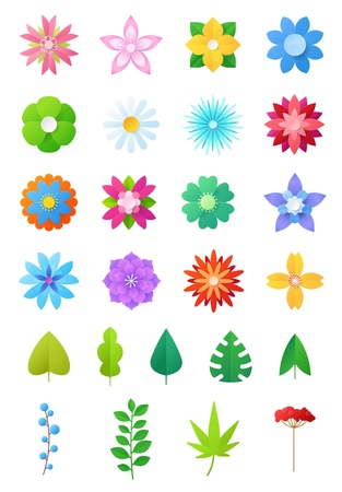 Paper flowers vector floral decoration or flowered greeting card decor for flowering invitation on birthday illustration flowery set of beautiful flora leaves isolated on white background