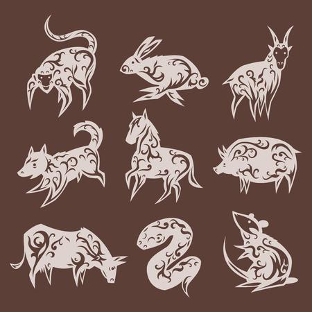 Chinese zodiac eastern calendar traditional china new year oriental animal symbols vector illustrations. Illustration