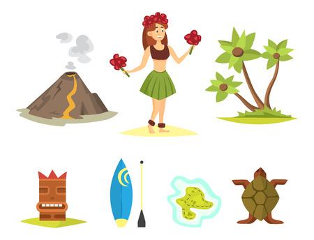 Hawaii symbols and dancer woman including hula tiki gods, totem pole, tiki torches and fish. Beautiful travel ethnic aloha party summer island beach vacation.