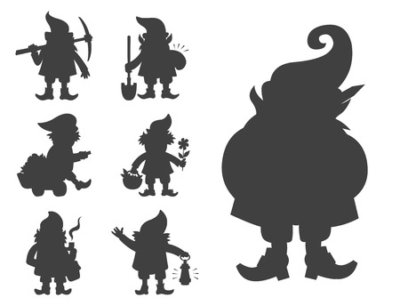 Fairy tale fantastic gnome dwarf elf character black silhouette poses magical leprechaun cute fairy tale man vector illustration 免版税图像 - 103384147