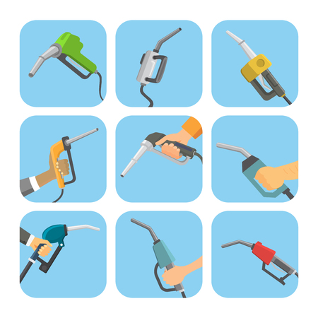 Filling gasoline station pistol in people hands refinery industry refueling petroleum tank service tool vector illustration