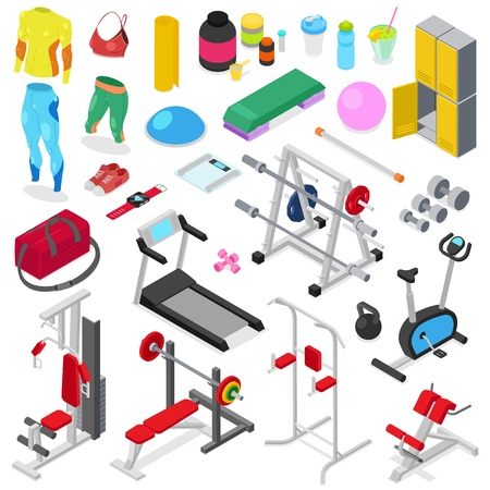 Fitness equipment vector gym machine for doing sport exercises on workout training to build body with bodybuilding weights in sportclub illustration set of sportswear isolated on white background