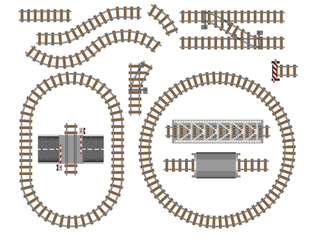 Vector illustration of railway parts grey rails maintenance concrete technology build equipment metro engineering construction.