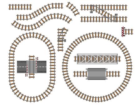 Vektorillustration von Eisenbahnteilen graue Schienen Wartung Betontechnologie bauen Ausrüstung Metro Engineering Konstruktion. Vektorgrafik