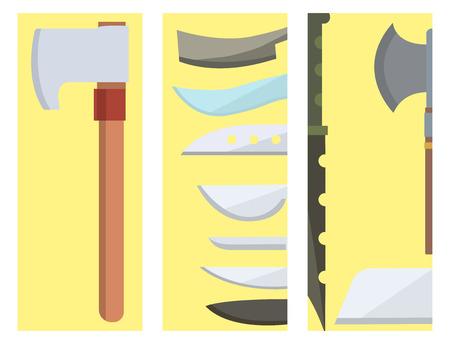 Cuchillos cocina chef comida cuchillos tarjetas utensilio de cocina almuerzo maquinilla de afeitar inoxidable restaurante hoja herramienta vector ilustración