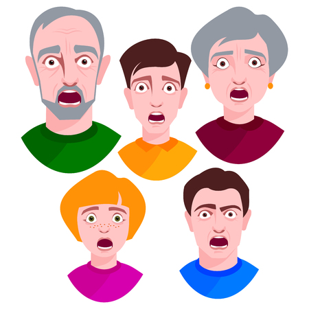People horror faces vector extremely surprised young shock portrait frightened character emotions afraid expression person with open mouth illustration.