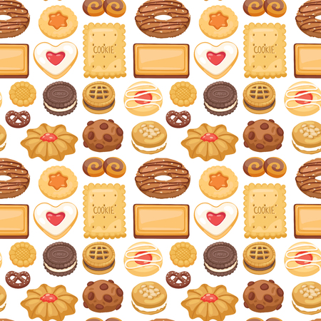 Cookie cakes top view sweet homemade breakfast bake food biscuit pastry seamless pattern background vector illustration.