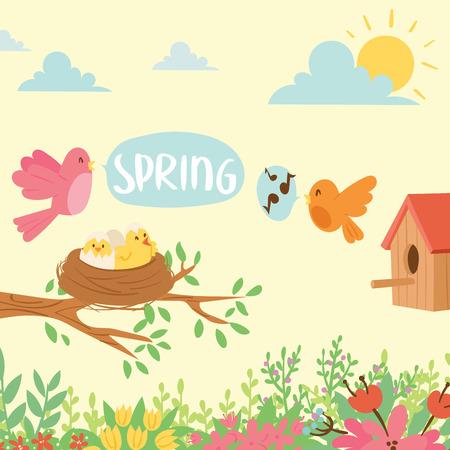 Spring natural floral background blossom beauty design and nature grass season branch springtime hand drawn elements vector illustration. Illustration