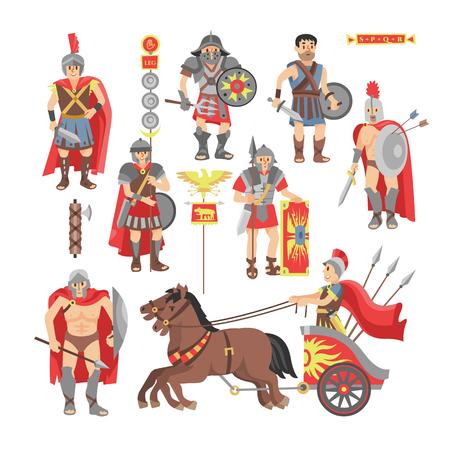 Gladiador vector carácter de hombre de guerrero romano en armadura con espada o arma y escudo en el conjunto histórico de ilustración de Roma antigua de pueblo griego warrio luchando en la guerra aislada sobre fondo blanco