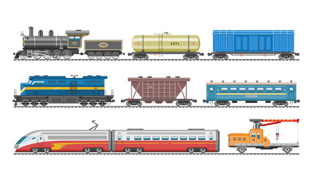 Train vector railway transport locomotive or wagon and subway or metro transportation illustration set of transportable vehicle or carriage on railroad station isolated on white background
