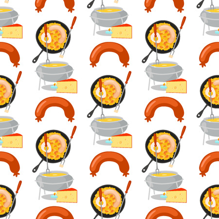 Smoke dried sausages seamless pattern background dish meat dinner cuisine delicious lunch barbecue vector illustration