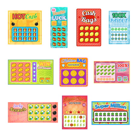 Lottery ticket vector lucky bingo card win chance lotto game jackpot set illustration lottery tickets isolated on white background