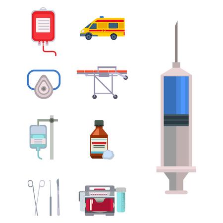Ambulance icons vector medicine health emergency hospital symbols illustration.