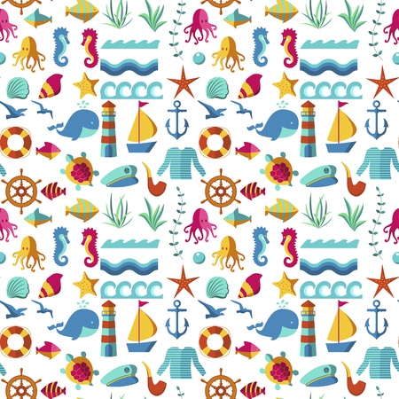 Seamless patterns with nautical elements wave paper ocean sea blue texture wallpaper marine vector illustration.