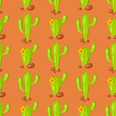 Nature succulent home cactus tropical plant vector illustration seamless pattern background