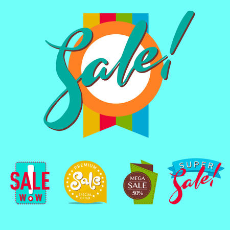 Super sale extra bonus banners text in color drawn labels business concept vector. Internet promotion shopping advertising discount promotional marketing. Çizim